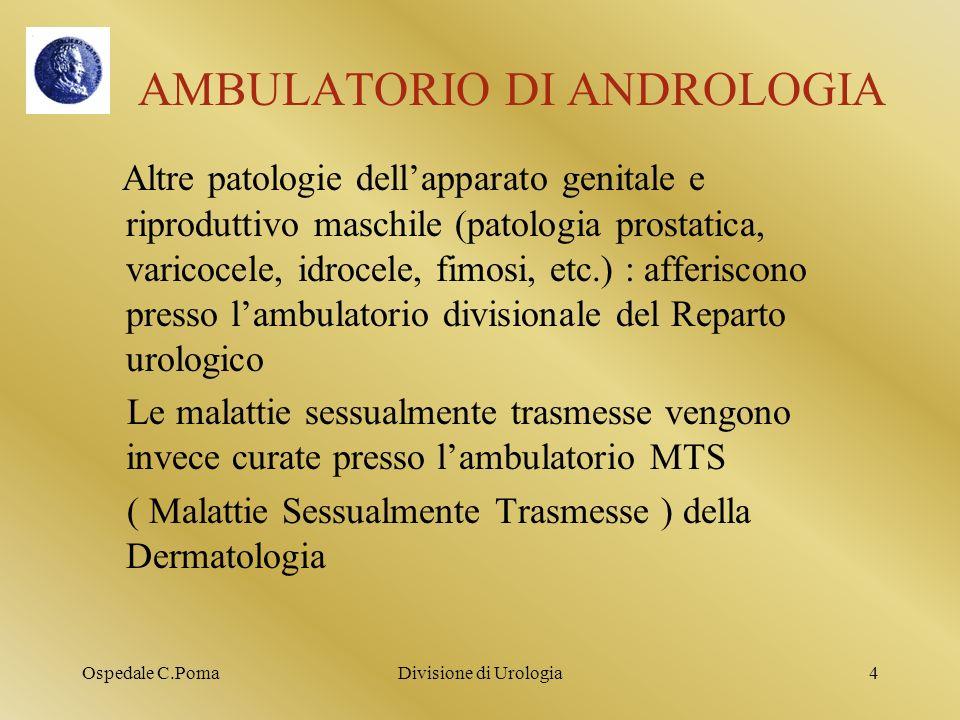 Ospedale C.PomaDivisione di Urologia5 SERVIZIO DI ANDROLOGIA STRUTTURE OSPEDALIERE CHE COLLABORANO STRETTAMENTE CON IL SERVIZIO : - CENTRO DI INFERTILITA DI COPPIA ( GINECOLOGIA E OSTETRICIA ) Medici della Urologia che collaborano con il Centro : Dr.S.Guatelli Dr.P.Parma - SERVIZIO DI PSICOSESSUOLOGIA