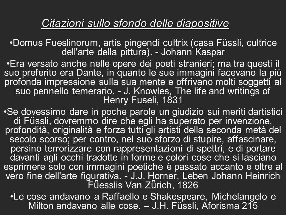 Citazioni sullo sfondo delle diapositive Domus Fueslinorum, artis pingendi cultrix (casa Füssli, cultrice dell'arte della pittura). - Johann Kaspar Er
