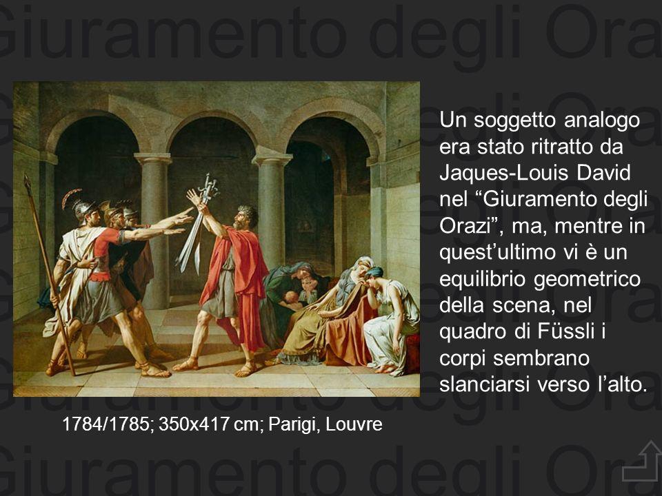 Giuramento degli Orazi Un soggetto analogo era stato ritratto da Jaques-Louis David nel Giuramento degli Orazi, ma, mentre in questultimo vi è un equi