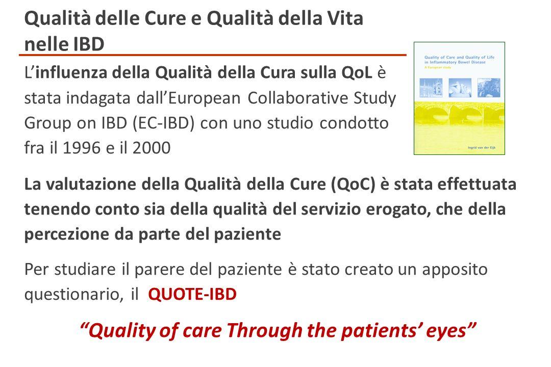 Linfluenza della Qualità della Cura sulla QoL è stata indagata dallEuropean Collaborative Study Group on IBD (EC-IBD) con uno studio condotto fra il 1