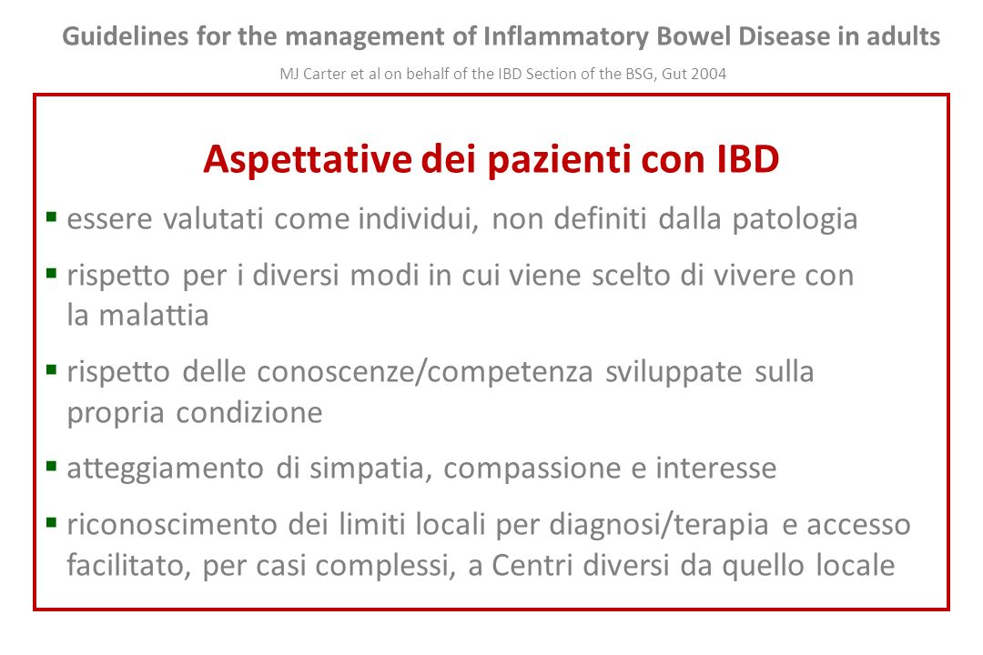 Guidelines for the management of Inflammatory Bowel Disease in adults MJ Carter et al on behalf of the IBD Section of the BSG, Gut 2004 Aspettative de