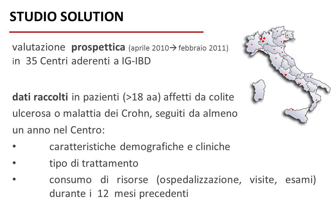 valutazione prospettica (aprile 2010 febbraio 2011) i n 35 Centri aderenti a IG-IBD dati raccolti in pazienti (>18 aa) affetti da colite ulcerosa o ma