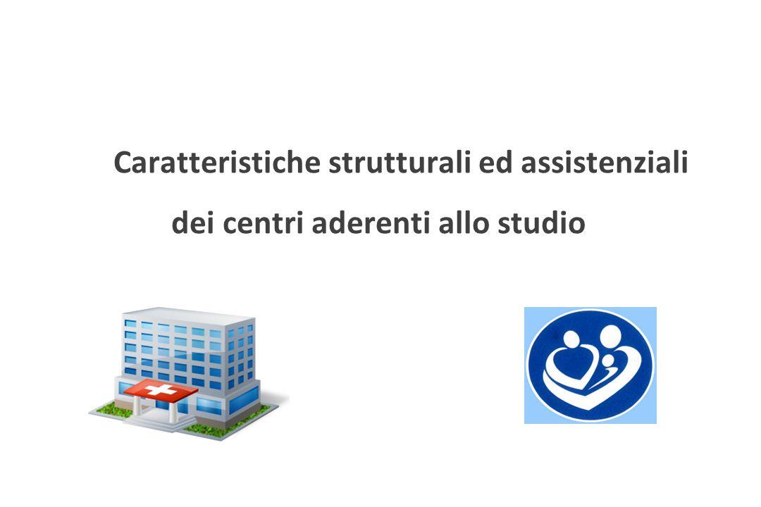 Caratteristiche strutturali ed assistenziali dei centri aderenti allo studio