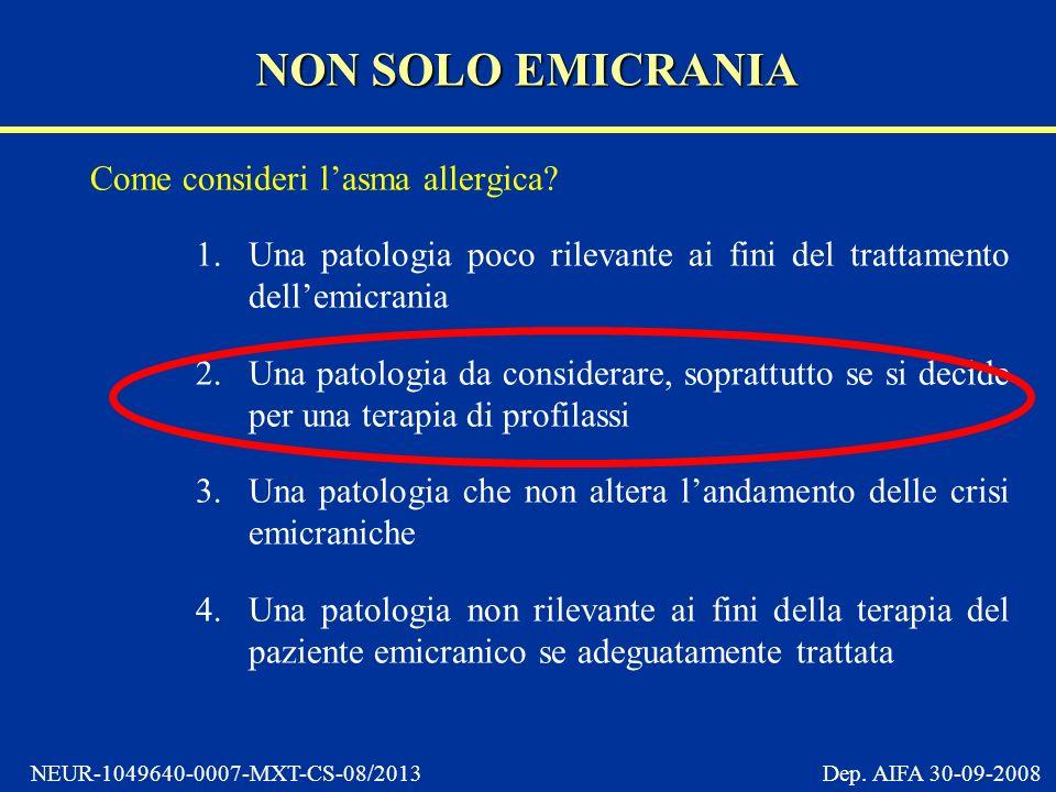 NEUR-1049640-0007-MXT-CS-08/2013 Dep.AIFA 30-09-2008 Come consideri lasma allergica.