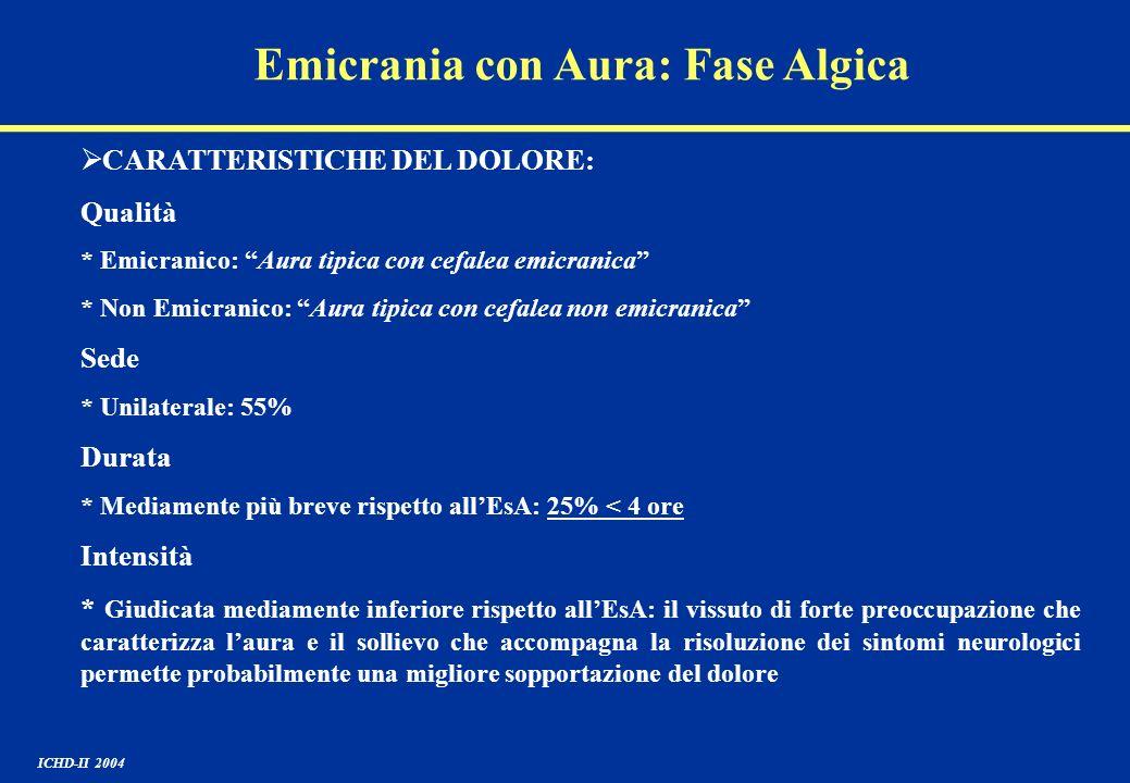 Emicrania con Aura: Fase Algica CARATTERISTICHE DEL DOLORE: Qualità * Emicranico: Aura tipica con cefalea emicranica * Non Emicranico: Aura tipica con
