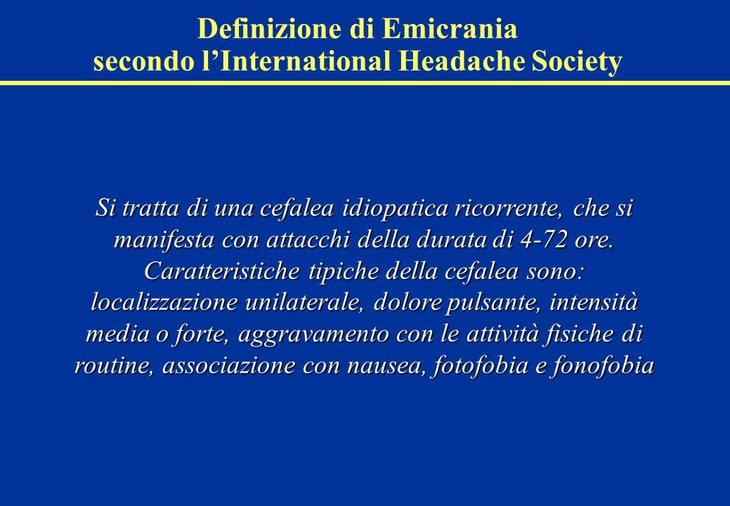 Emicrania: classificazione secondo lInternational Headache Society (ICHD-II) Lemicrania è distinta in due sottotipi maggiori: 1.1: Emicrania senzaura 1.1: Emicrania senzaura: forma più frequente caratterizzata da cefalea con aspetti peculiari e sintomi associati.