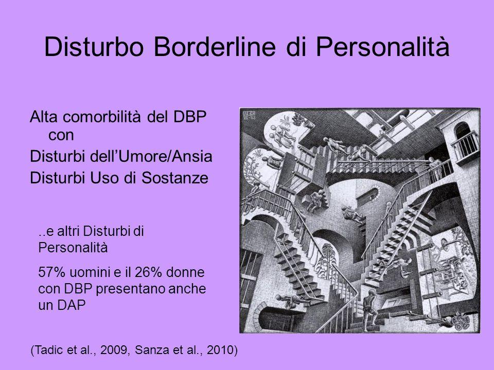 Alta comorbilità del DBP con Disturbi dellUmore/Ansia Disturbi Uso di Sostanze..e altri Disturbi di Personalità 57% uomini e il 26% donne con DBP pres