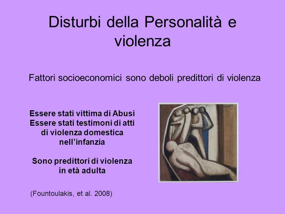 Fattori socioeconomici sono deboli predittori di violenza (Fountoulakis, et al. 2008) Essere stati vittima di Abusi Essere stati testimoni di atti di