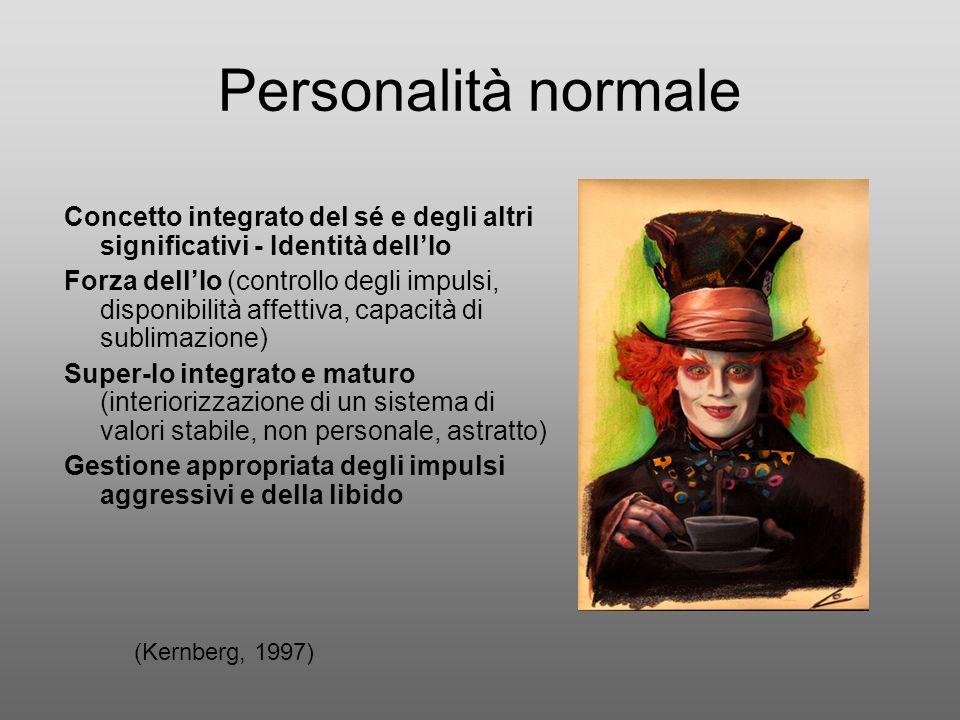 Personalità normale Concetto integrato del sé e degli altri significativi - Identità dellIo Forza dellIo (controllo degli impulsi, disponibilità affet