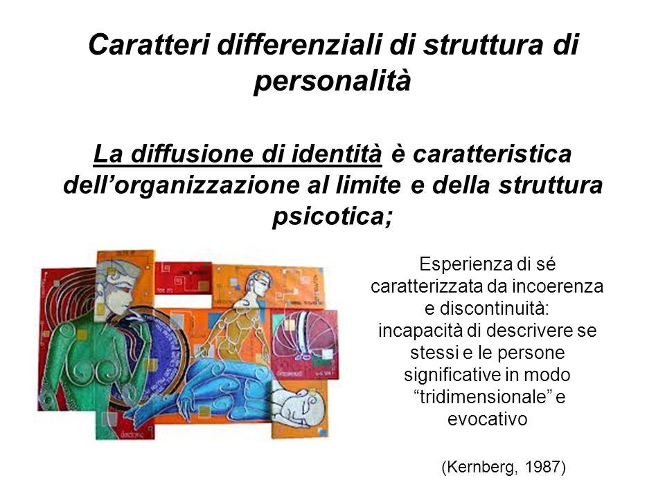 Caratteri differenziali di struttura di personalità La diffusione di identità è caratteristica dellorganizzazione al limite e della struttura psicotic
