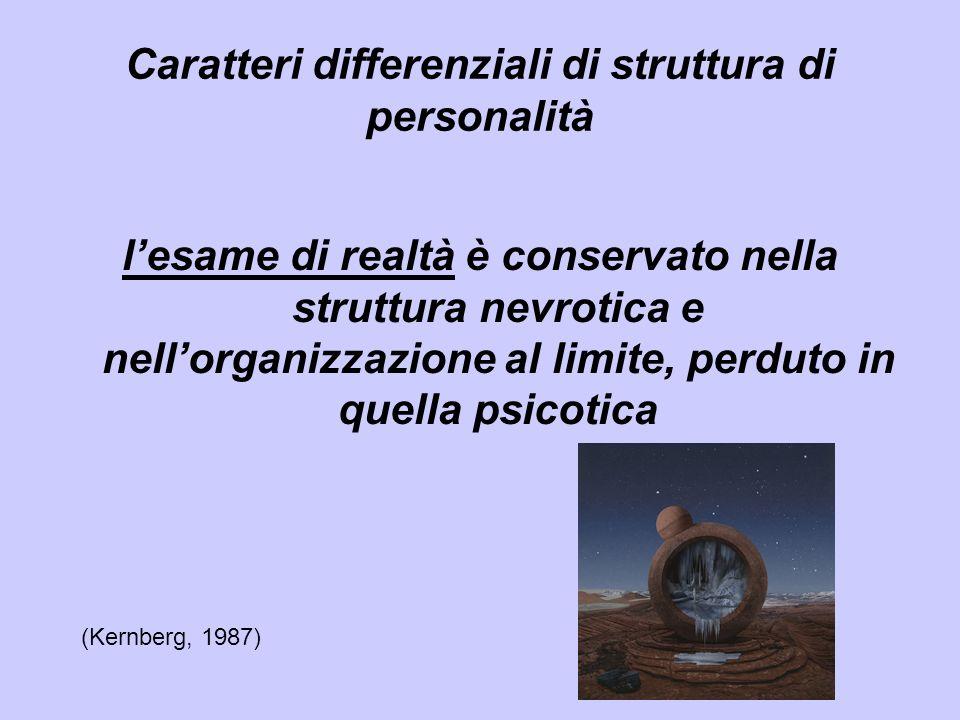 lesame di realtà è conservato nella struttura nevrotica e nellorganizzazione al limite, perduto in quella psicotica Caratteri differenziali di struttu