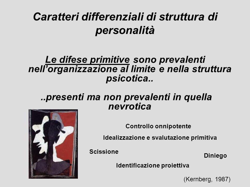 Le difese primitive sono prevalenti nellorganizzazione al limite e nella struttura psicotica....presenti ma non prevalenti in quella nevrotica Caratte