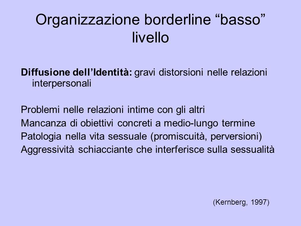 Organizzazione borderline basso livello Diffusione dellIdentità: gravi distorsioni nelle relazioni interpersonali Problemi nelle relazioni intime con