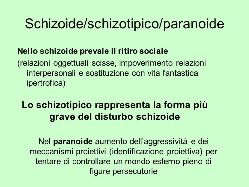 Schizoide/schizotipico/paranoide Nello schizoide prevale il ritiro sociale (relazioni oggettuali scisse, impoverimento relazioni interpersonali e sost