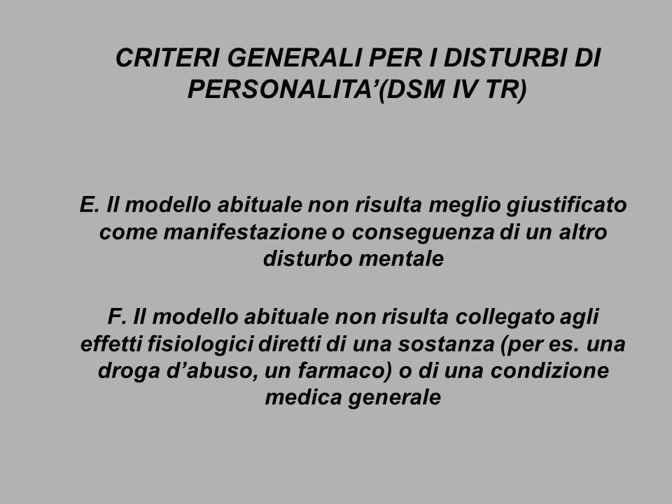 E. Il modello abituale non risulta meglio giustificato come manifestazione o conseguenza di un altro disturbo mentale F. Il modello abituale non risul