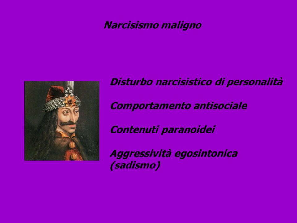 Narcisismo maligno Disturbo narcisistico di personalità Comportamento antisociale Contenuti paranoidei Aggressività egosintonica (sadismo)