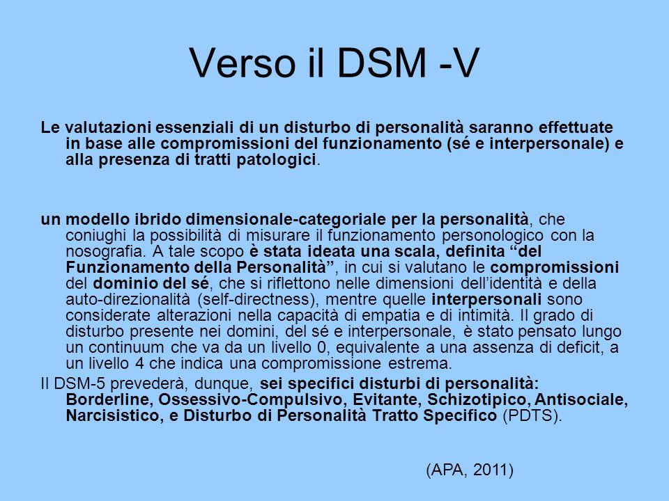 Verso il DSM -V Le valutazioni essenziali di un disturbo di personalità saranno effettuate in base alle compromissioni del funzionamento (sé e interpe