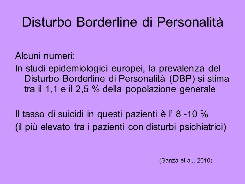 Alcuni numeri: In studi epidemiologici europei, la prevalenza del Disturbo Borderline di Personalità (DBP) si stima tra il 1,1 e il 2,5 % della popola