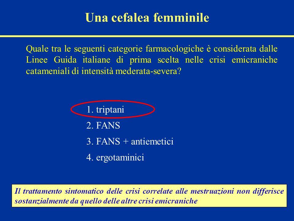 Una cefalea femminile Quale tra le seguenti categorie farmacologiche è considerata dalle Linee Guida italiane di prima scelta nelle crisi emicraniche catameniali di intensità mederata-severa.