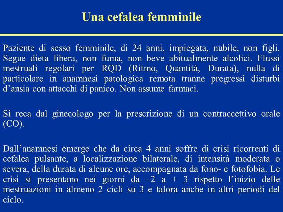 Una cefalea femminile Paziente di sesso femminile, di 24 anni, impiegata, nubile, non figli. Segue dieta libera, non fuma, non beve abitualmente alcol