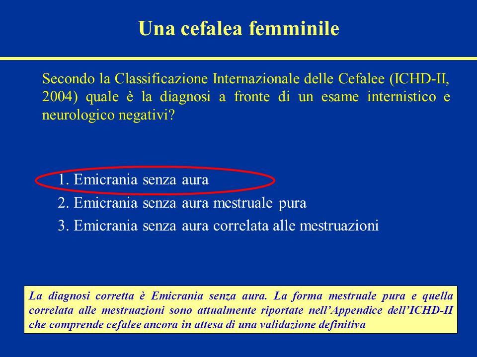 Una cefalea femminile Secondo la Classificazione Internazionale delle Cefalee (ICHD-II, 2004) quale è la diagnosi a fronte di un esame internistico e