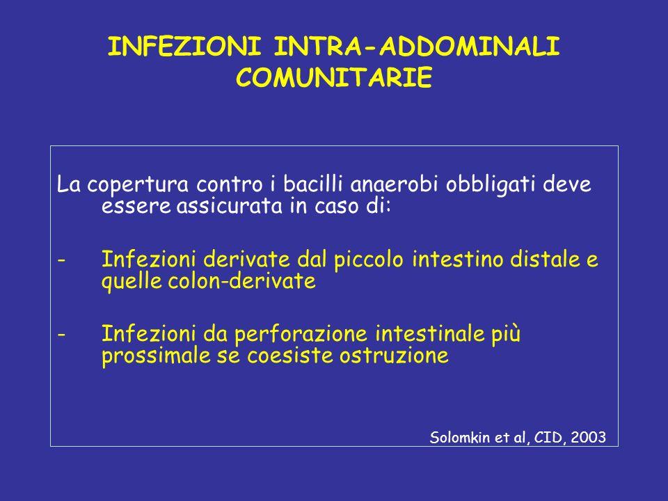 INFEZIONI INTRA-ADDOMINALI COMUNITARIE La copertura contro i bacilli anaerobi obbligati deve essere assicurata in caso di: -Infezioni derivate dal pic