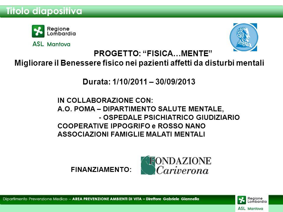 Titolo diapositiva Dipartimento Prevenzione Medico – AREA PREVENZIONE AMBIENTI DI VITA – Direttore Gabriele Giannella PROGETTO: FISICA…MENTE Migliorare il Benessere fisico nei pazienti affetti da disturbi mentali Durata: 1/10/2011 – 30/09/2013 FINANZIAMENTO: IN COLLABORAZIONE CON: A.O.