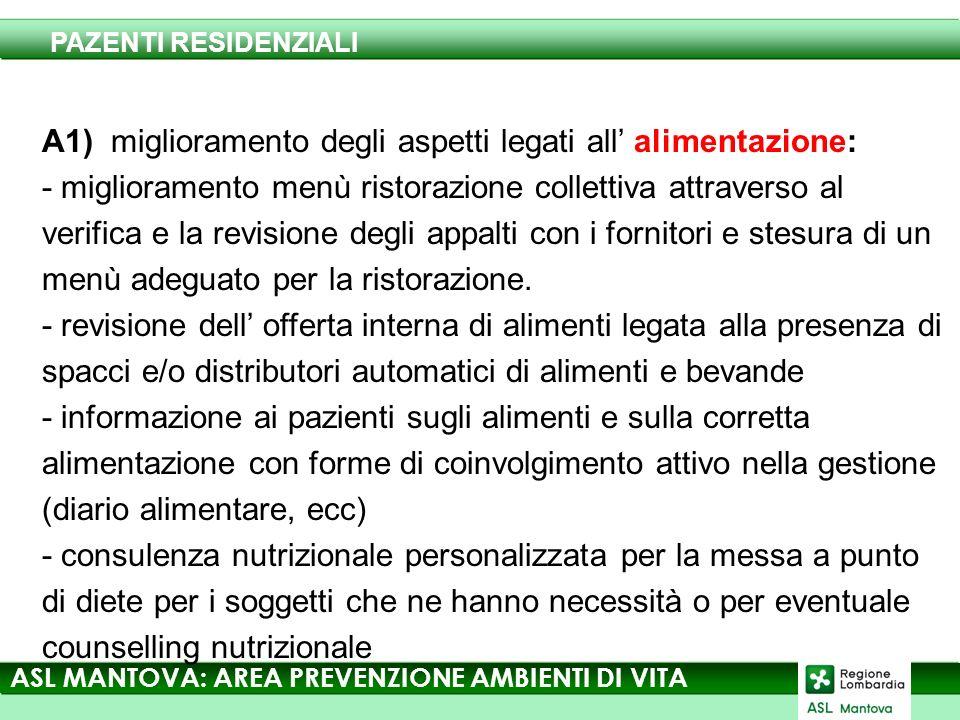 A1) miglioramento degli aspetti legati all alimentazione: - miglioramento menù ristorazione collettiva attraverso al verifica e la revisione degli appalti con i fornitori e stesura di un menù adeguato per la ristorazione.