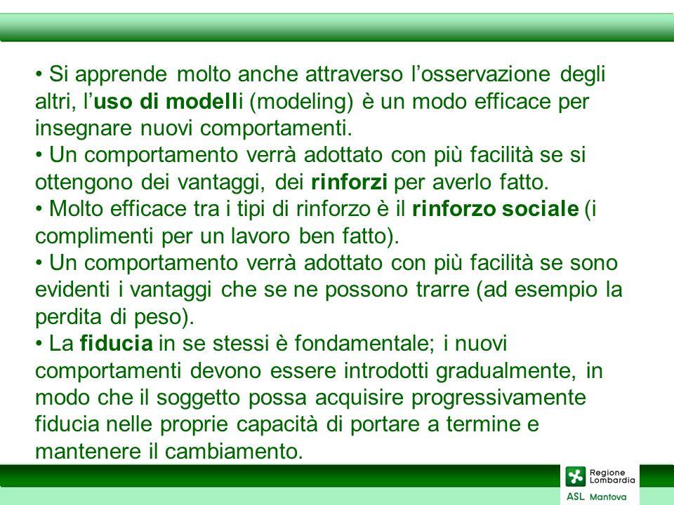 Si apprende molto anche attraverso losservazione degli altri, luso di modelli (modeling) è un modo efficace per insegnare nuovi comportamenti.