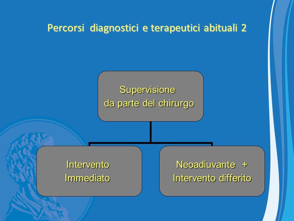 Percorsi diagnostici e terapeutici abituali 2 Supervisione da parte del chirurgo InterventoImmediato Neoadiuvante + Intervento differito Intervento di