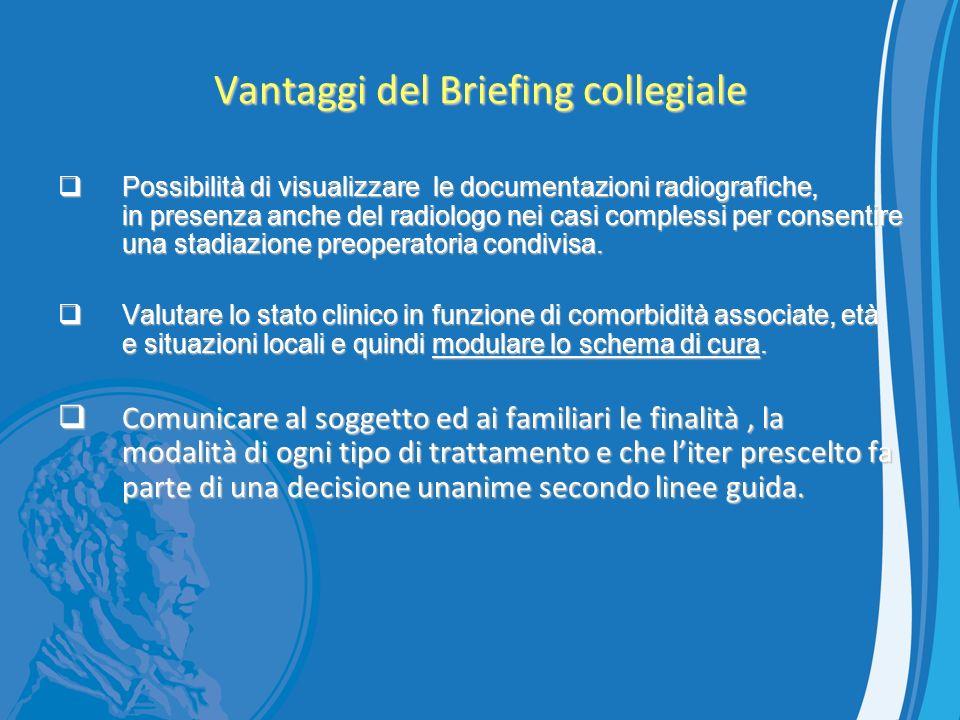 Vantaggi del Briefing collegiale Possibilità di visualizzare le documentazioni radiografiche, in presenza anche del radiologo nei casi complessi per c