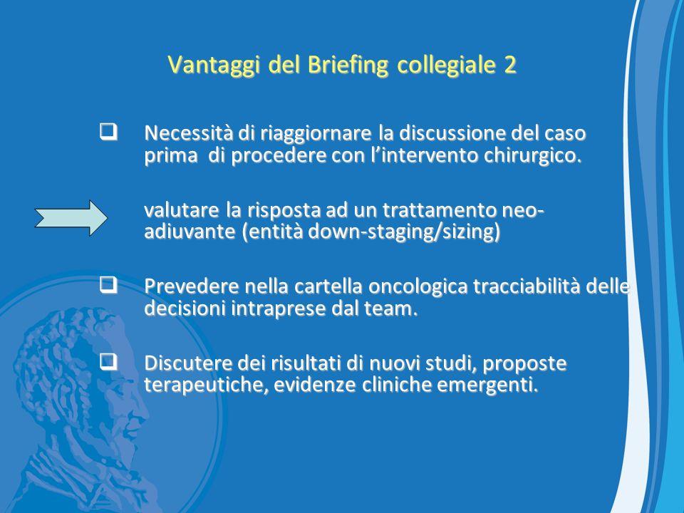 Vantaggi del Briefing collegiale 2 Necessità di riaggiornare la discussione del caso prima di procedere con lintervento chirurgico. Necessità di riagg
