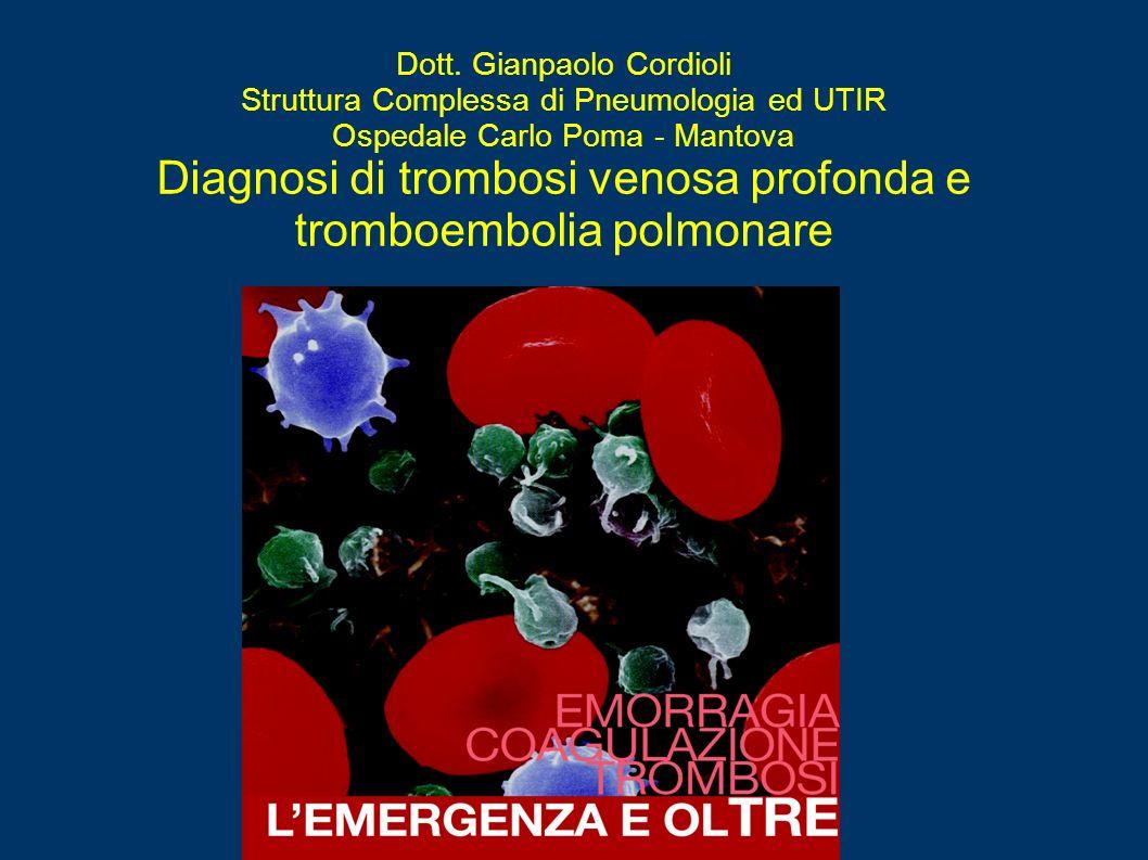 Dott. Gianpaolo Cordioli Struttura Complessa di Pneumologia ed UTIR Ospedale Carlo Poma - Mantova Diagnosi di trombosi venosa profonda e tromboembolia