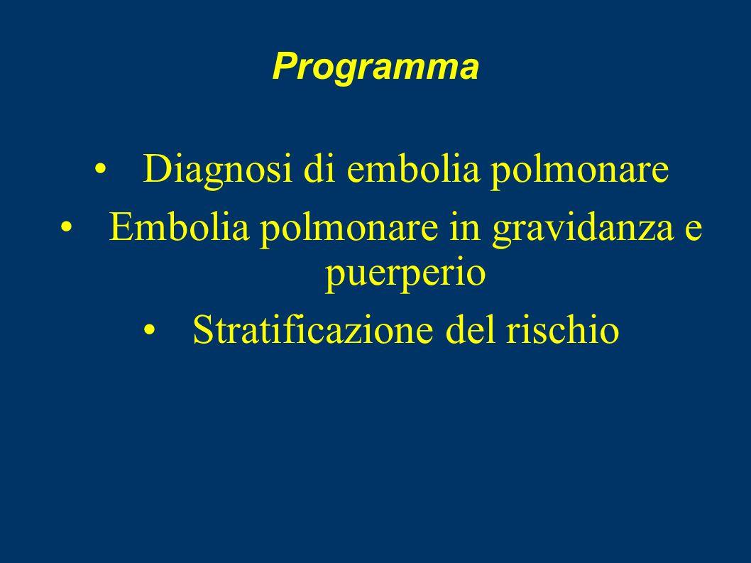 Programma Diagnosi di embolia polmonare Embolia polmonare in gravidanza e puerperio Stratificazione del rischio