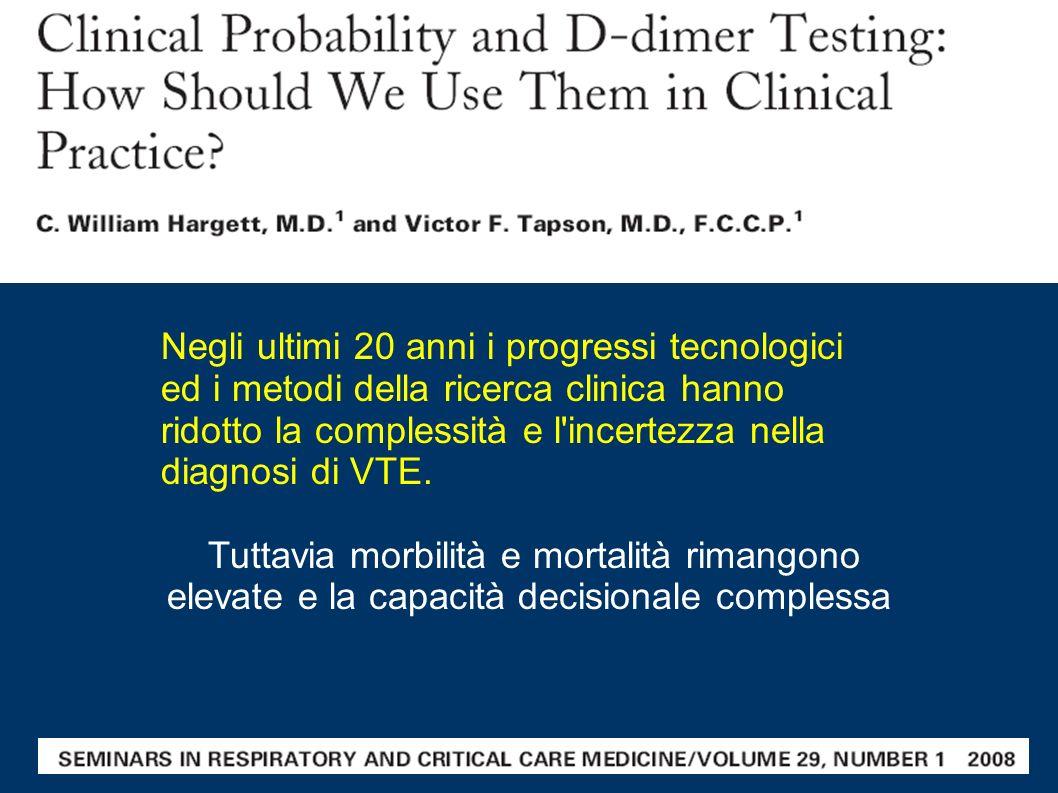 Negli ultimi 20 anni i progressi tecnologici ed i metodi della ricerca clinica hanno ridotto la complessità e l'incertezza nella diagnosi di VTE. Tutt