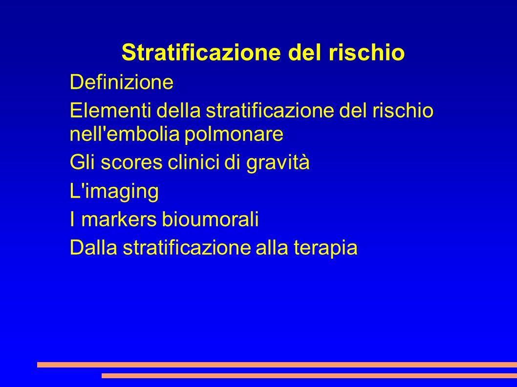 Stratificazione del rischio Definizione Elementi della stratificazione del rischio nell'embolia polmonare Gli scores clinici di gravità L'imaging I ma