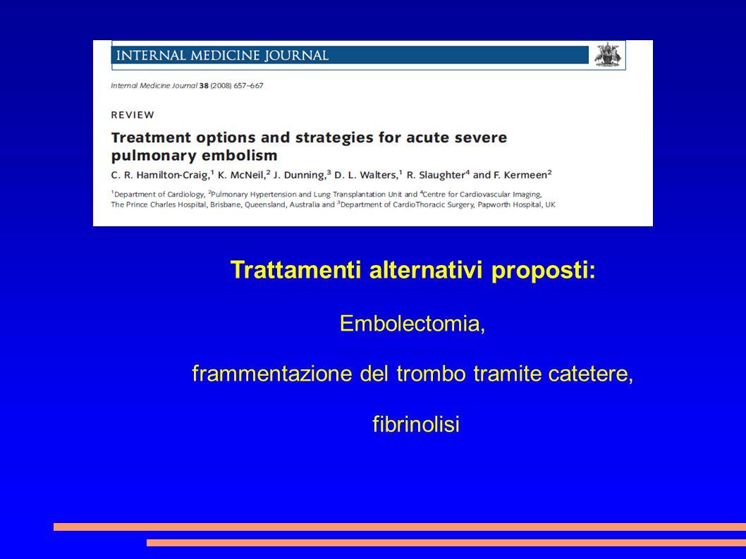 Trattamenti alternativi proposti: Embolectomia, frammentazione del trombo tramite catetere, fibrinolisi