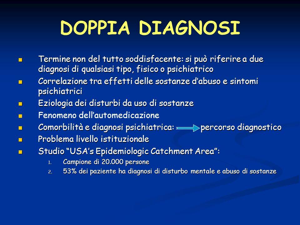 DOPPIA DIAGNOSI Termine non del tutto soddisfacente: si può riferire a due diagnosi di qualsiasi tipo, fisico o psichiatrico Termine non del tutto sod