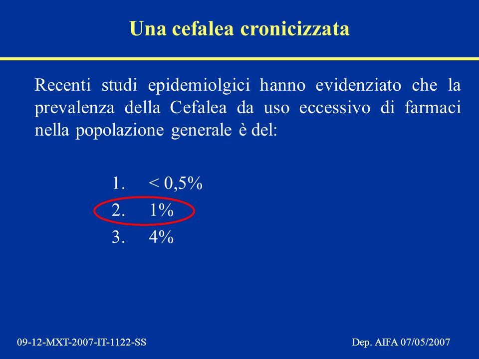 09-12-MXT-2007-IT-1122-SSDep. AIFA 07/05/2007 Recenti studi epidemiolgici hanno evidenziato che la prevalenza della Cefalea da uso eccessivo di farmac