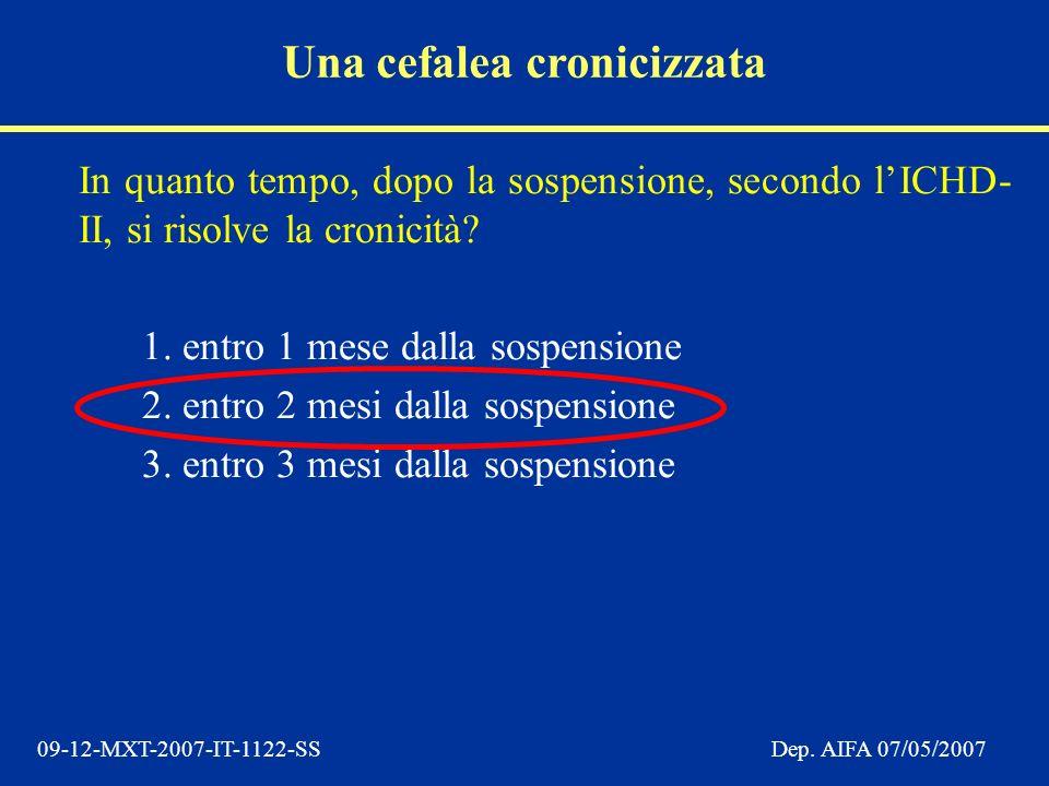 09-12-MXT-2007-IT-1122-SSDep. AIFA 07/05/2007 In quanto tempo, dopo la sospensione, secondo lICHD- II, si risolve la cronicità? 1. entro 1 mese dalla