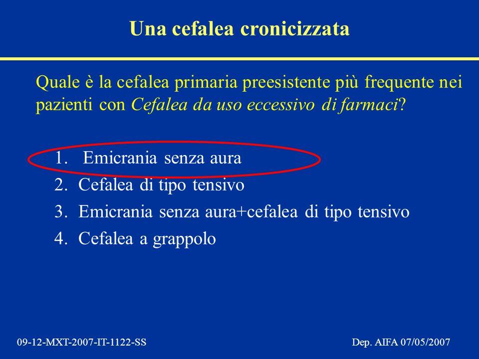 09-12-MXT-2007-IT-1122-SSDep. AIFA 07/05/2007 Quale è la cefalea primaria preesistente più frequente nei pazienti con Cefalea da uso eccessivo di farm