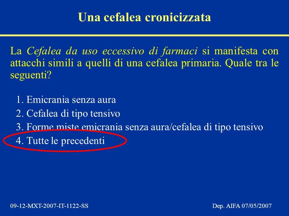09-12-MXT-2007-IT-1122-SSDep. AIFA 07/05/2007 La Cefalea da uso eccessivo di farmaci si manifesta con attacchi simili a quelli di una cefalea primaria