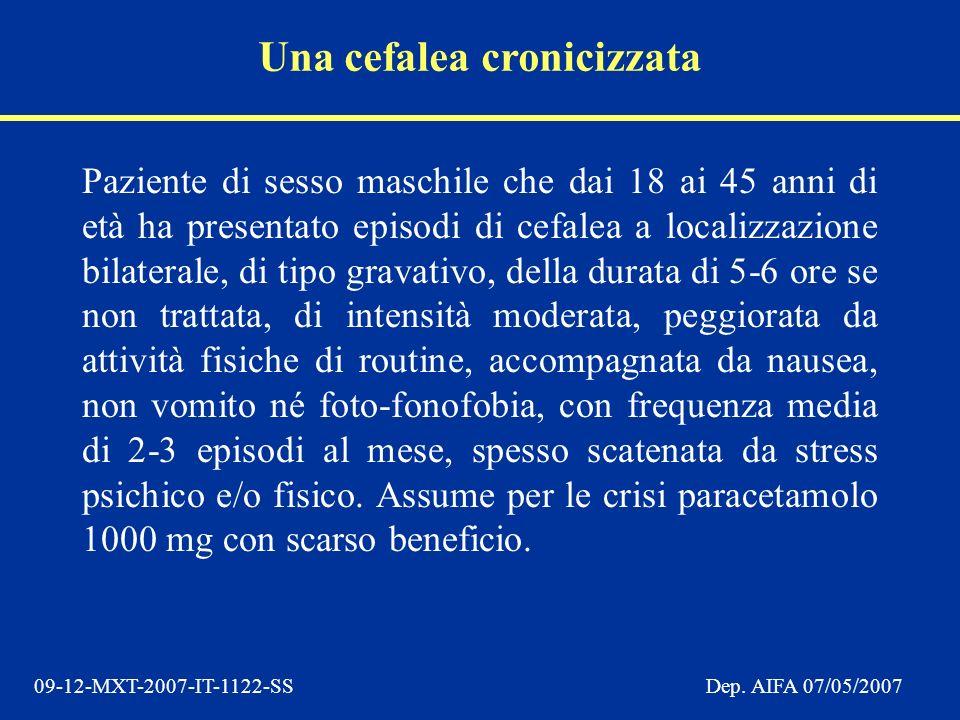 09-12-MXT-2007-IT-1122-SSDep. AIFA 07/05/2007 Paziente di sesso maschile che dai 18 ai 45 anni di età ha presentato episodi di cefalea a localizzazion