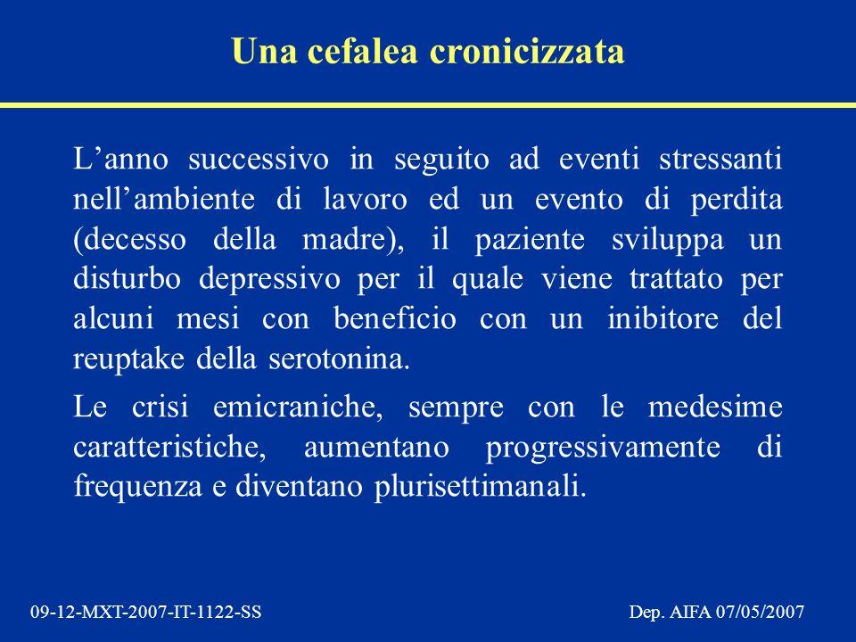 09-12-MXT-2007-IT-1122-SSDep. AIFA 07/05/2007 Lanno successivo in seguito ad eventi stressanti nellambiente di lavoro ed un evento di perdita (decesso