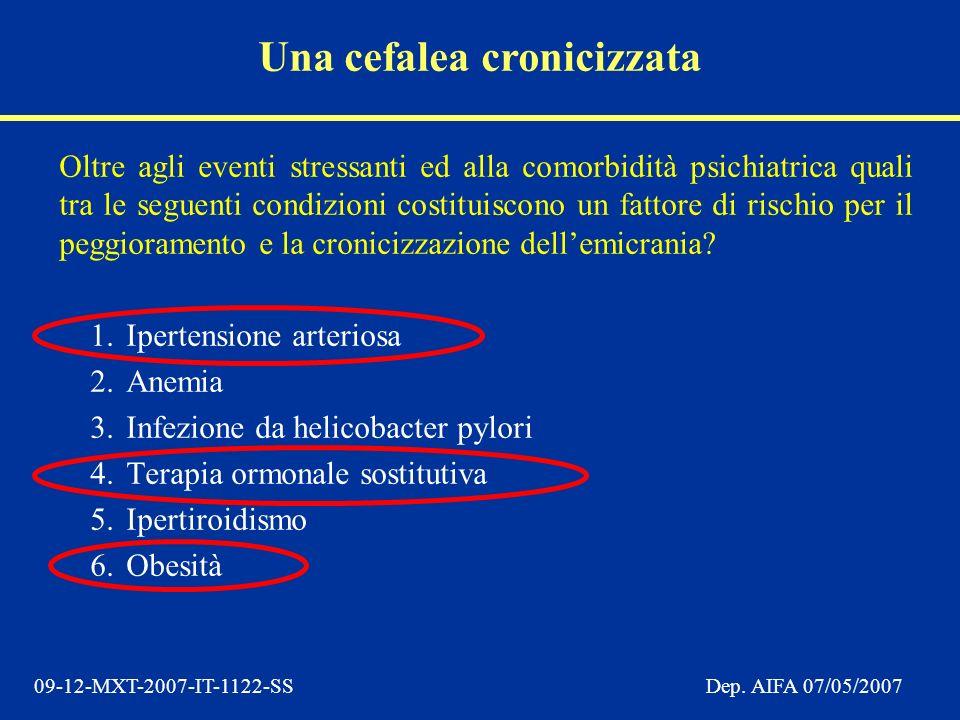 09-12-MXT-2007-IT-1122-SSDep. AIFA 07/05/2007 Oltre agli eventi stressanti ed alla comorbidità psichiatrica quali tra le seguenti condizioni costituis