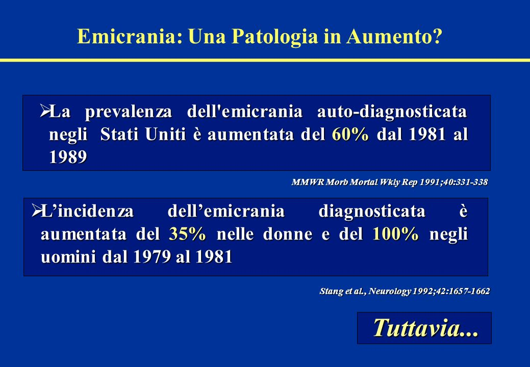 Emicrania: Una Patologia in Aumento? La prevalenza dell'emicrania auto-diagnosticata negli Stati Uniti è aumentata del 60% dal 1981 al 1989 La prevale