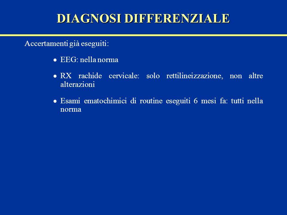 Accertamenti già eseguiti: EEG: nella norma RX rachide cervicale: solo rettilineizzazione, non altre alterazioni Esami ematochimici di routine eseguit