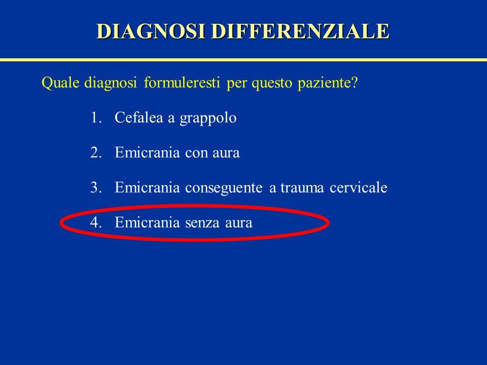 Quale diagnosi formuleresti per questo paziente? 1.Cefalea a grappolo 2.Emicrania con aura 3.Emicrania conseguente a trauma cervicale 4.Emicrania senz