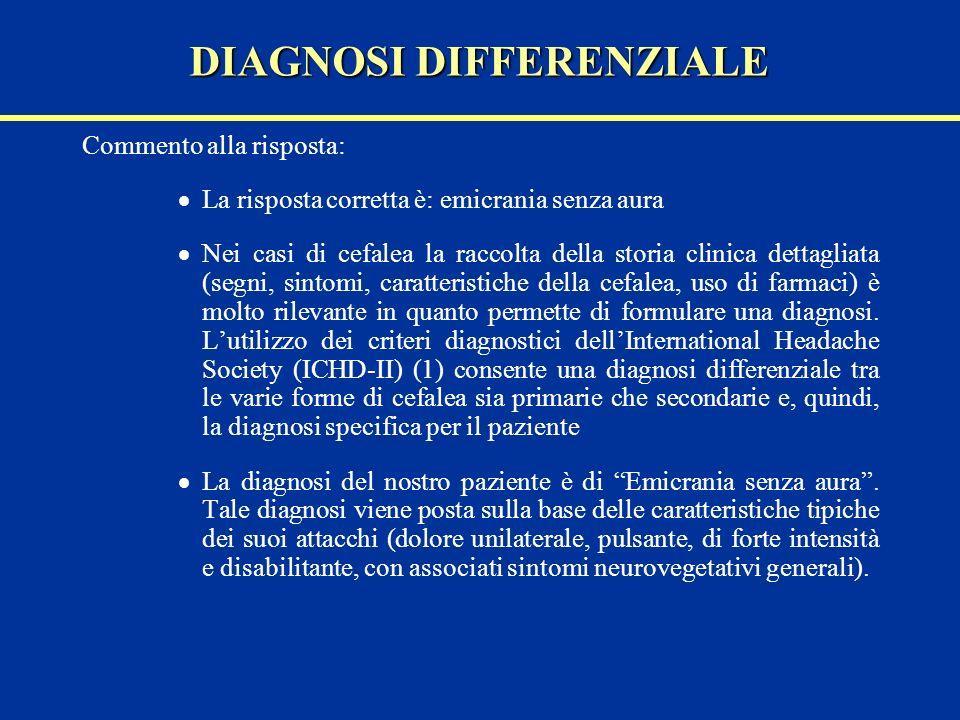 Commento alla risposta: La risposta corretta è: emicrania senza aura Nei casi di cefalea la raccolta della storia clinica dettagliata (segni, sintomi,