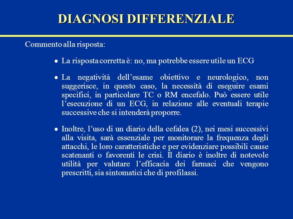 Commento alla risposta: La risposta corretta è: no, ma potrebbe essere utile un ECG La negatività dellesame obiettivo e neurologico, non suggerisce, i